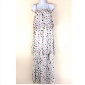 matty M Tiered Ruffle Maxi Dress Floral Rose Print